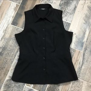 Express black button up sleeveless shirt. Size 5/6